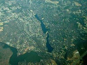 A View from Above.  The two narrow bodies-of-water are the Upper and Lower Beaver Ponds.  To the left of those lakes is Bexley West, to the right is Bexley, the community with whom we share these lakes.  The other body of water is Gregory's Pond, with Loch Braemar, another nearby neighborhood just above.  In the bottom right, you can see Hull Street (US Route 360).
